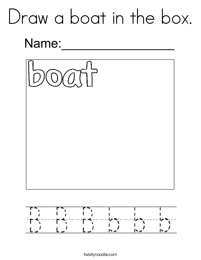 Draw a boat in the box. Coloring Page