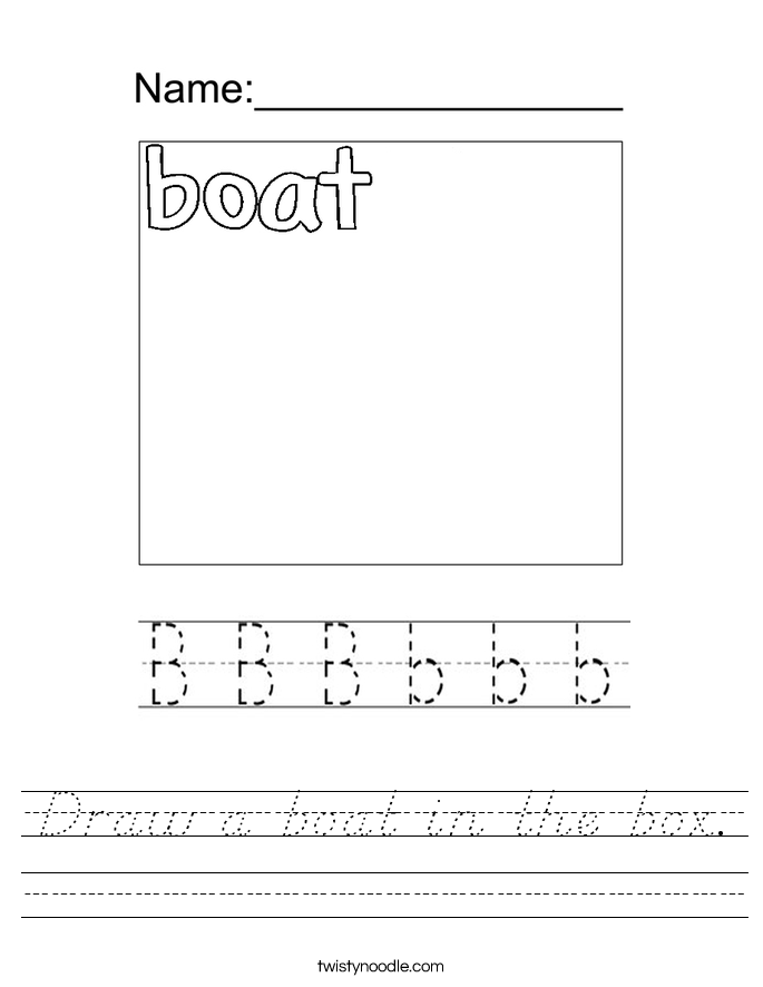 Draw a boat in the box. Worksheet