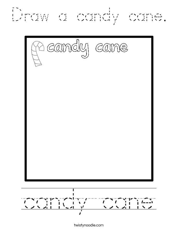 Draw a candy cane. Coloring Page