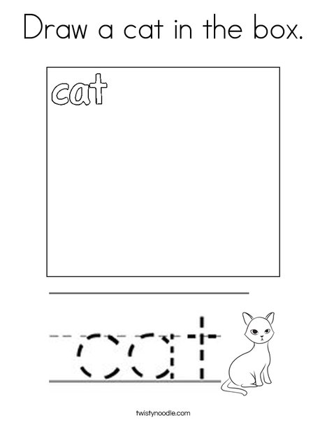 Draw a cat in the box. Coloring Page
