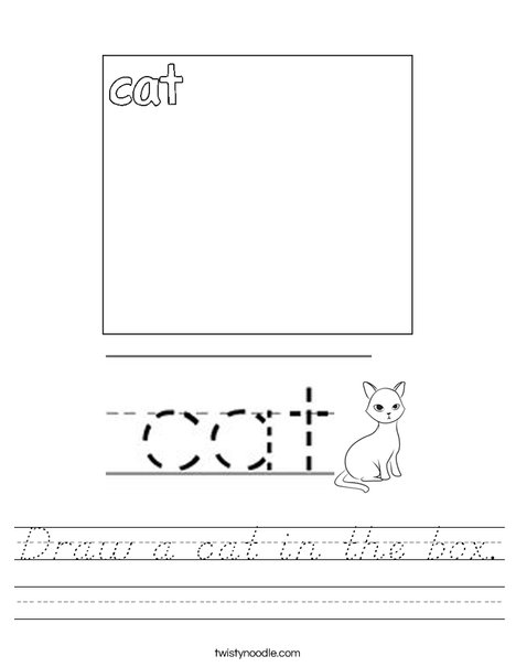 Draw a cat in the box. Worksheet