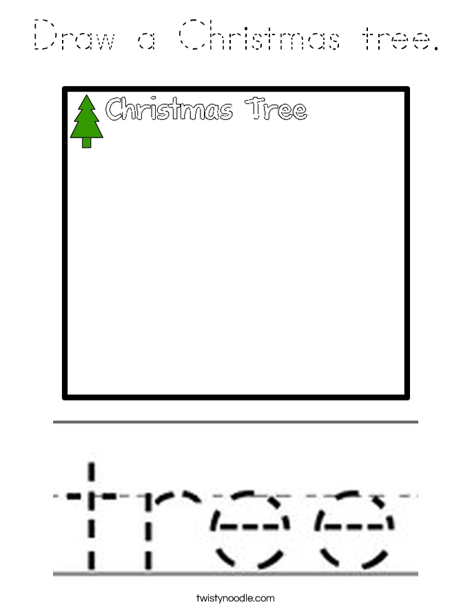 Draw a Christmas tree. Coloring Page