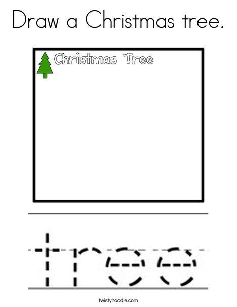 Draw a Christmas Tree Coloring Page