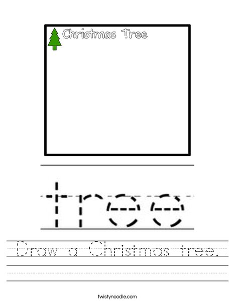 Draw a Christmas Tree Worksheet