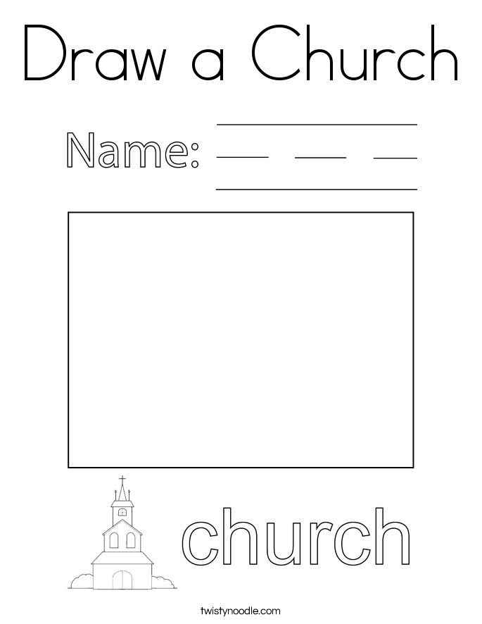 Draw a Church Coloring Page