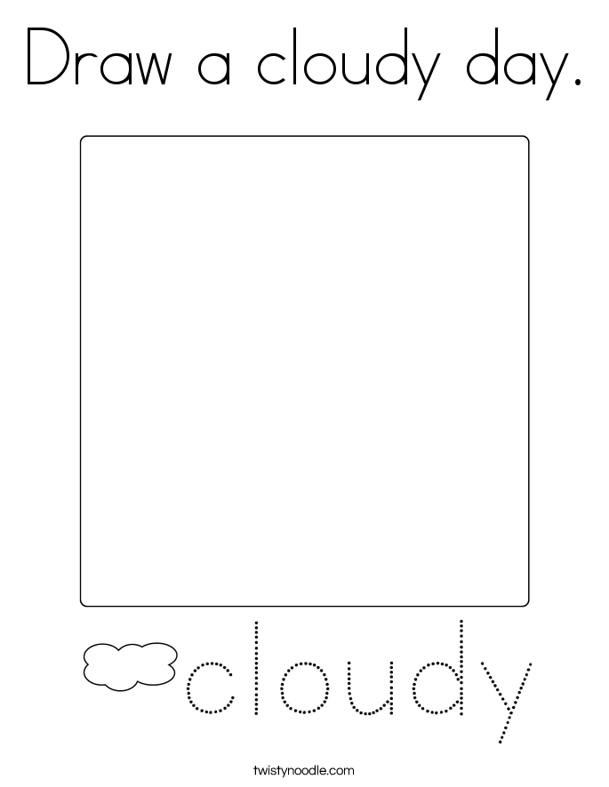 Draw a cloudy day. Coloring Page