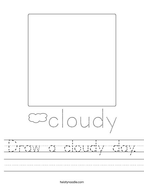 Draw a cloudy day. Worksheet