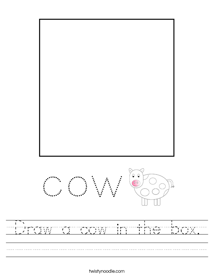 Draw a cow in the box. Worksheet