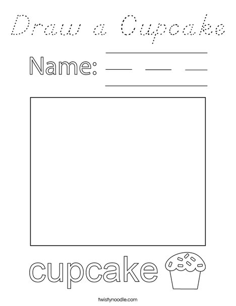 Draw a Cupcake Coloring Page