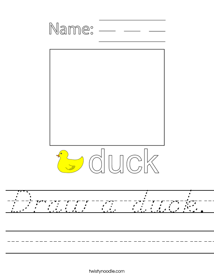 Draw a duck. Worksheet