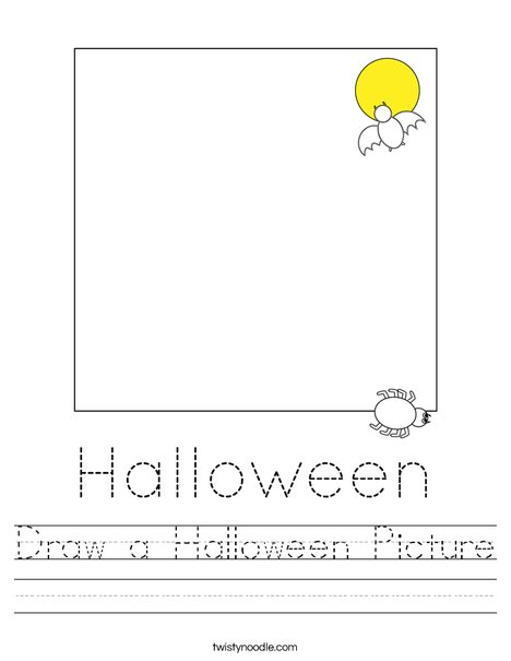 Draw a Halloween Picture Worksheet