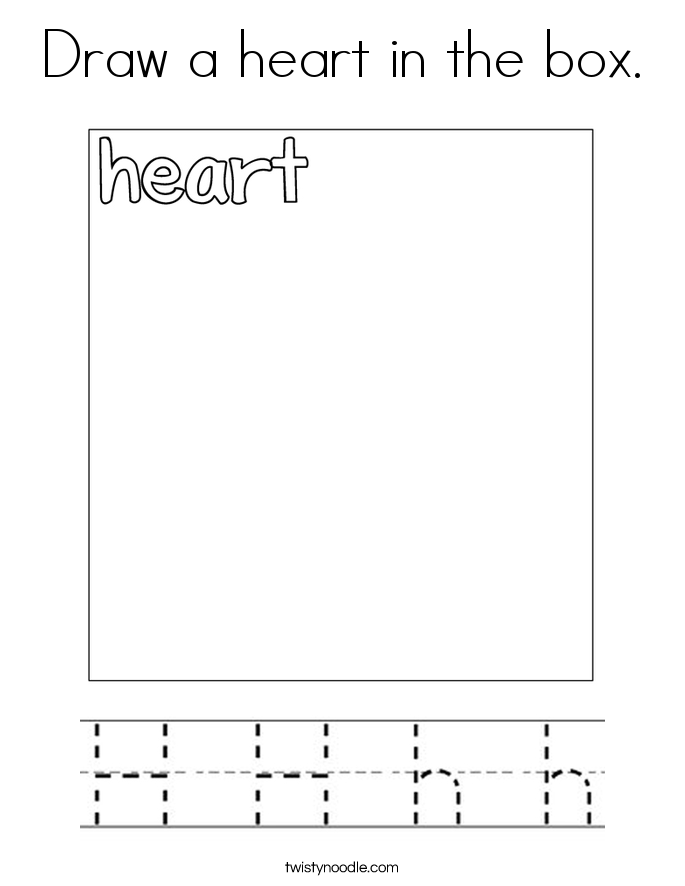 Draw a heart in the box. Coloring Page