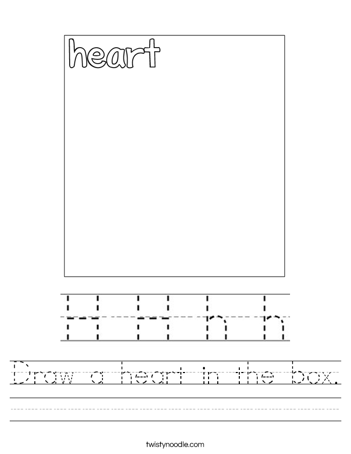 Draw a heart in the box. Worksheet