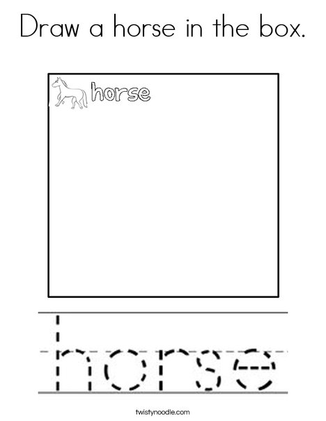 Draw a horse in the box. Coloring Page