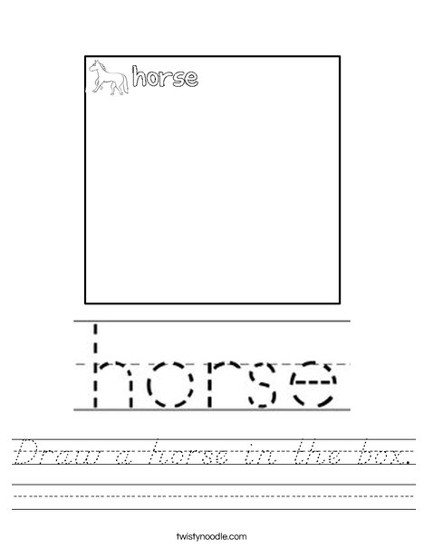 Draw a horse in the box. Worksheet