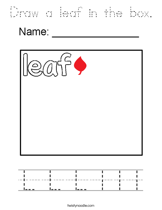 Draw a leaf in the box. Coloring Page
