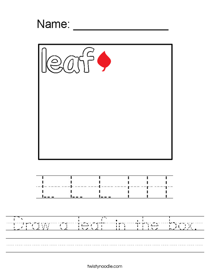 Draw a leaf in the box. Worksheet