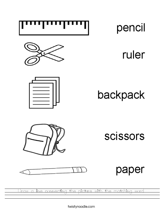 Draw a line connecting the picture with the matching word. Worksheet