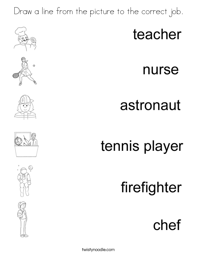 Draw a line from the picture to the correct job. Coloring Page