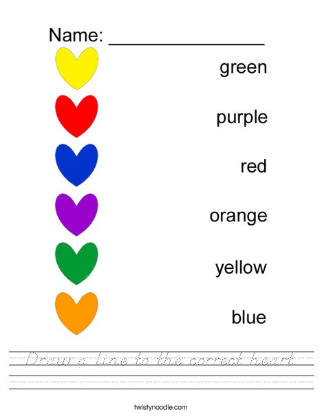 Draw a line to the correct color- heart Worksheet