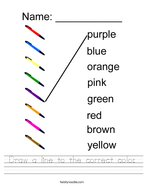 Draw a line to the correct color Handwriting Sheet