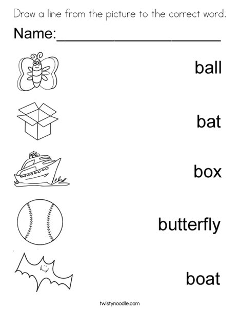 Draw a line to the matching B Word. Coloring Page