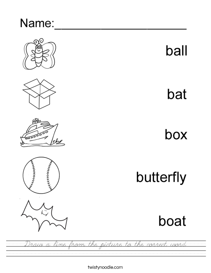 Draw a line from the picture to the correct word. Worksheet