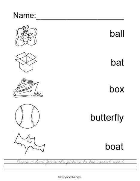 Draw a line to the matching B Word. Worksheet