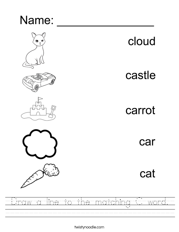Vector Drawing Lines Worksheets : Draw a line to the matching c word worksheet twisty noodle