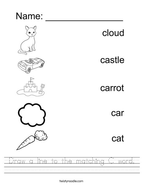 Draw a line to the matching C word Worksheet