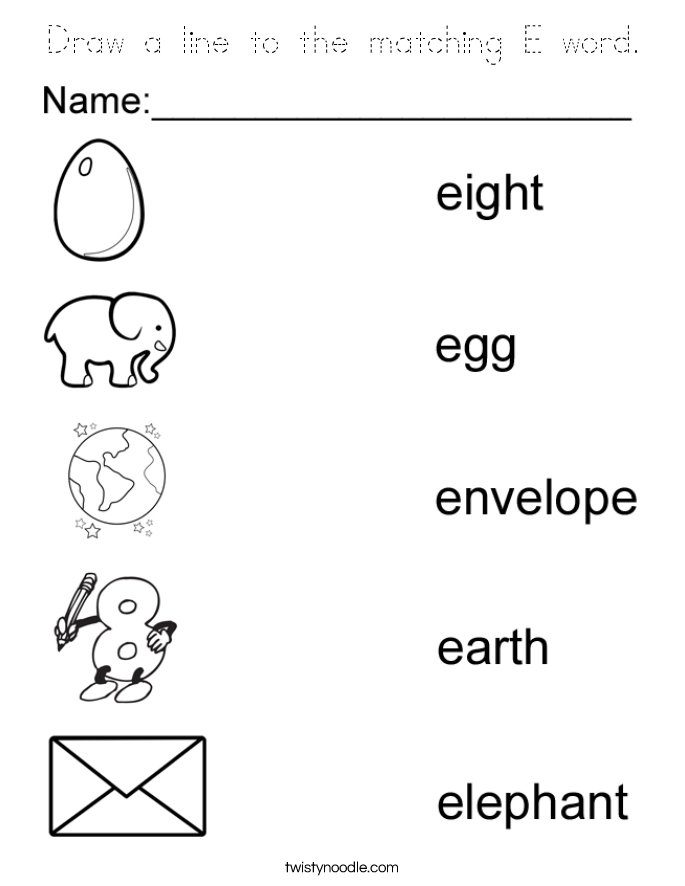 Draw a line to the matching E word. Coloring Page