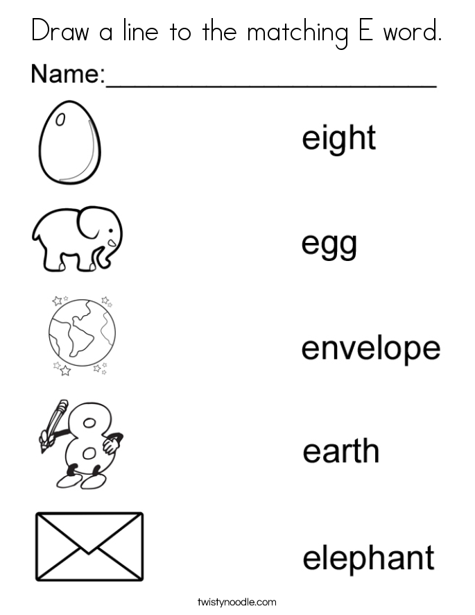 E Letter Words Coloring Pages