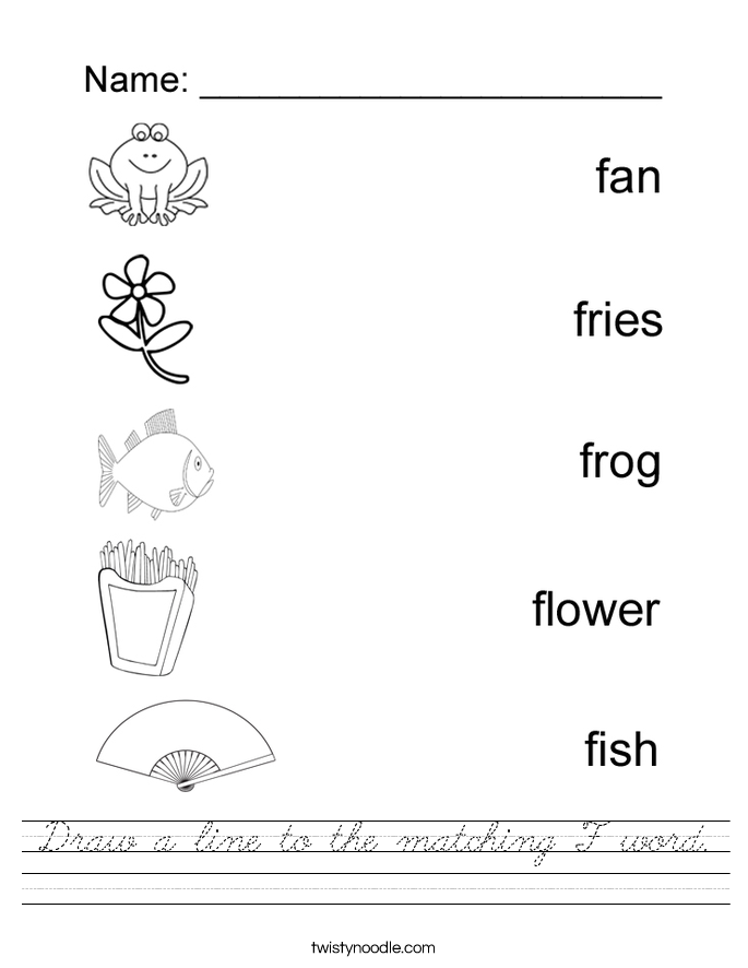 Draw a line to the matching F word. Worksheet