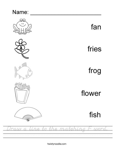 Draw a line to the matching F word Worksheet