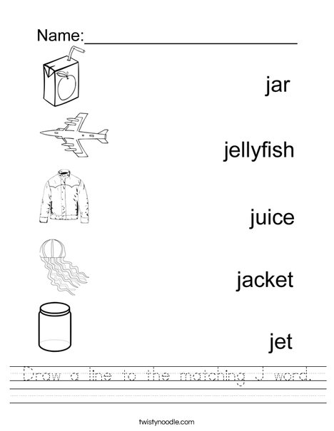 Draw a line to the matching J word Worksheet