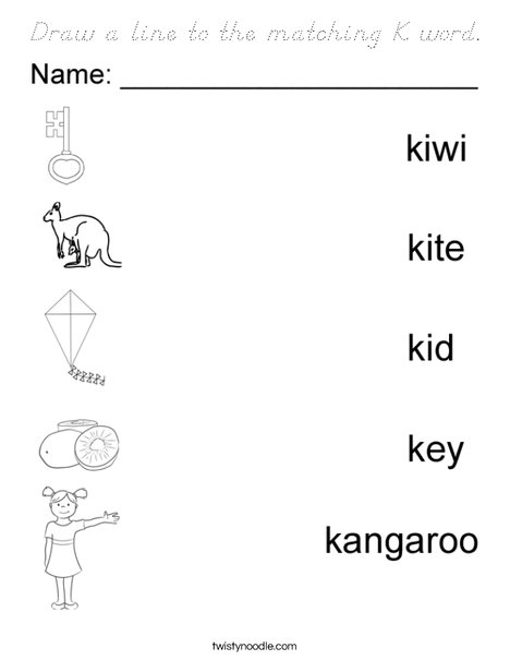 Draw a line to the matching K word Coloring Page