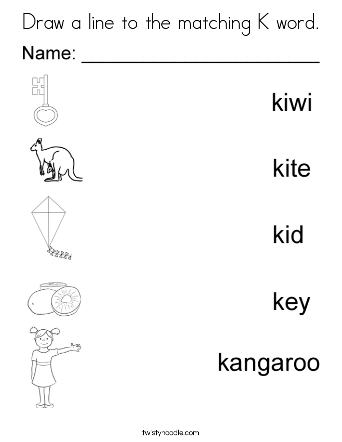 Draw a line to the matching K word. Coloring Page