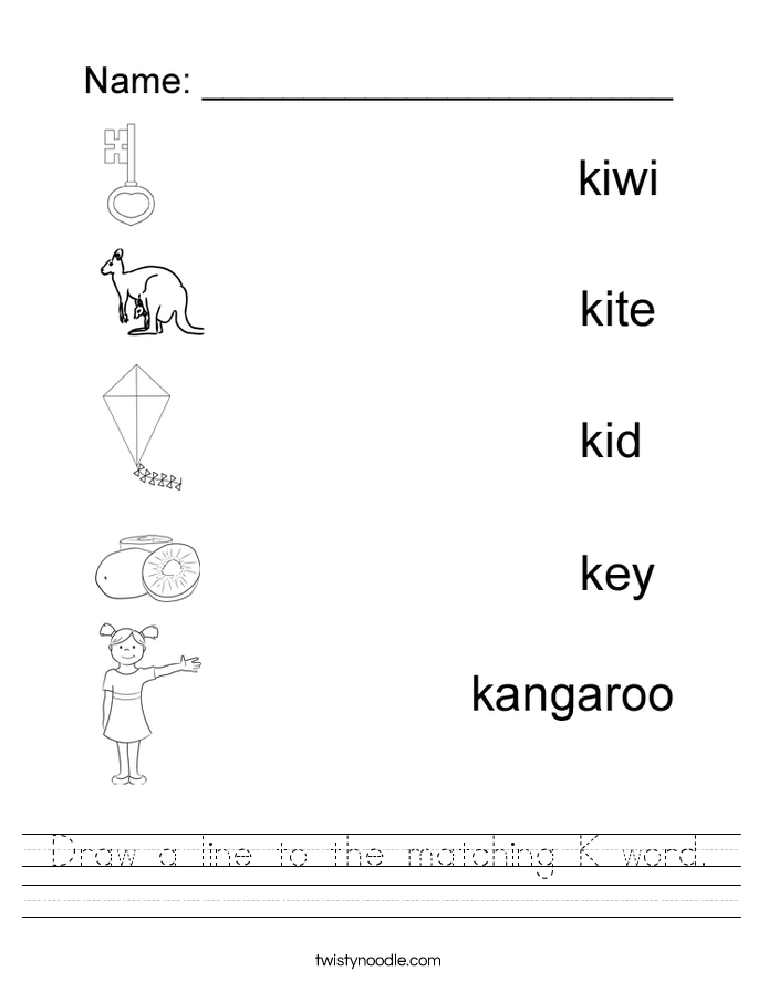 Worksheets Letter K Worksheet letter k worksheets twisty noodle draw a line to the matching word handwriting sheet