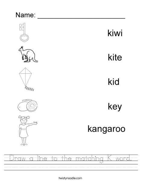 Draw a line to the matching K word Worksheet