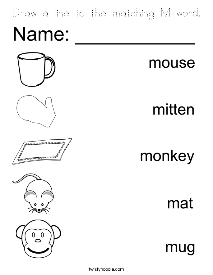 Draw a line to the matching M word. Coloring Page