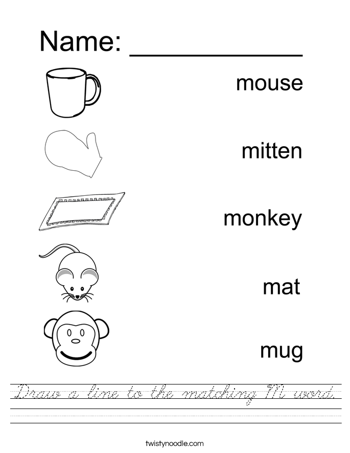 Draw a line to the matching M word. Worksheet