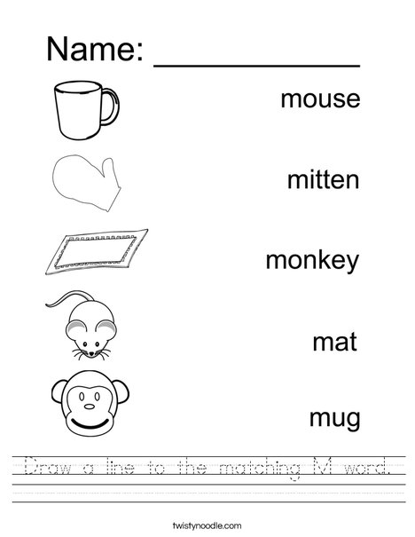Draw a line to the matching M Word Worksheet