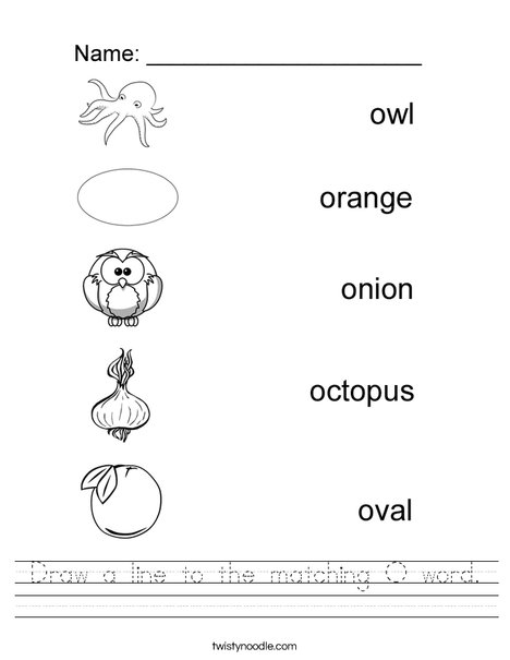 Draw a line to the matching O word Worksheet