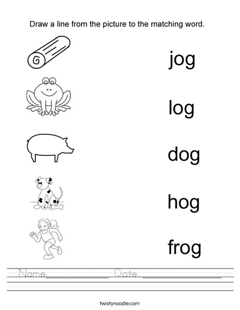 Draw a line to the matching -og word Worksheet