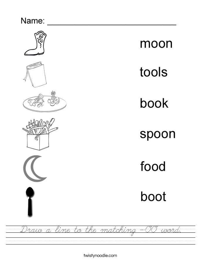 Draw a line to the matching -OO word. Worksheet