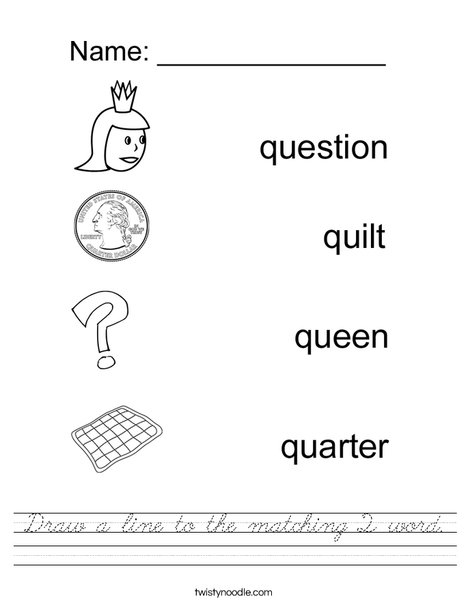 Draw a line to the matching Q word Worksheet