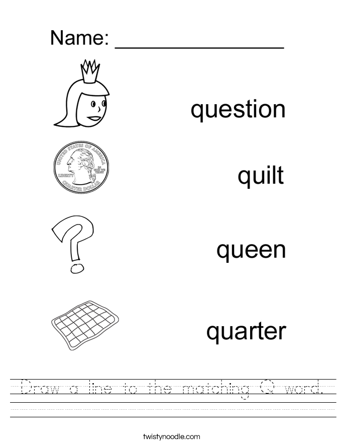 q letter words draw a line to the matching q word worksheet twisty noodle 27269