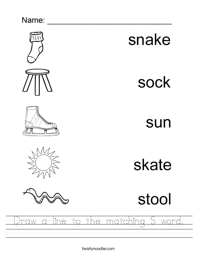 Vector Drawing Lines Worksheets : Draw a line to the matching s word worksheet twisty noodle