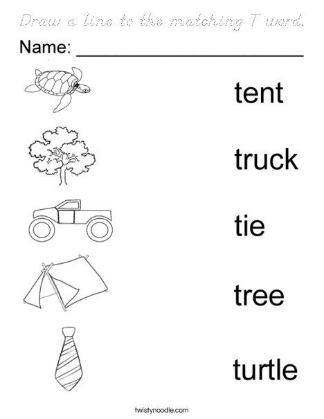 Draw a line to the matching T word. Coloring Page