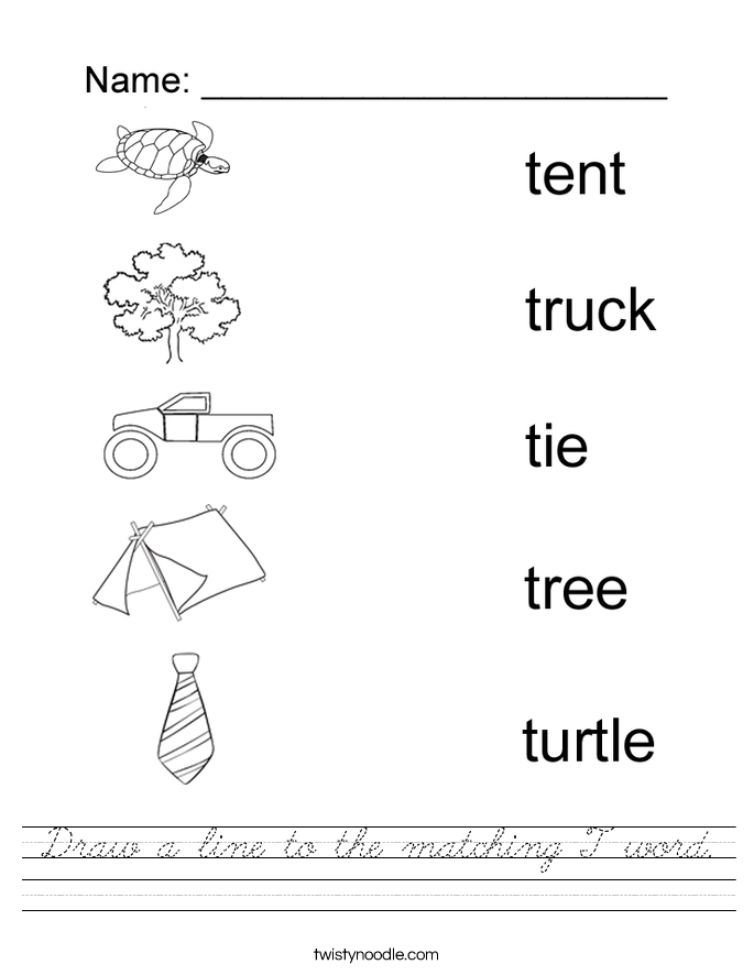 Draw a line to the matching T word. Worksheet